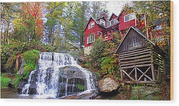 Red House By The Waterfall 2 Wood Print