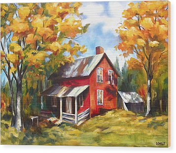 Red House In Autumn Wood Print