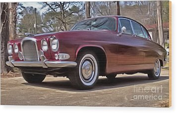 Wood Print featuring the photograph Red Jaguar 1966 by Elizabeth Coats
