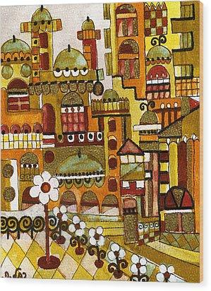 Red Kasba Skyline Landscape Art Of Old Town Dome And Minarett Decorated With Flower Arch In Orange Wood Print by Rachel Hershkovitz