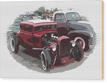 Red Model A Coupe Wood Print by Steve McKinzie