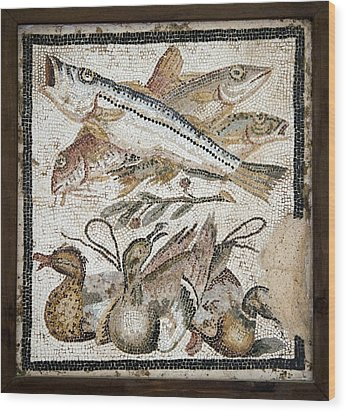 Red Mullets And Ducks, Roman Mosaic Wood Print by Sheila Terry