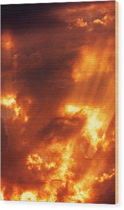 Red Mystical Sky Wood Print by Odon Czintos