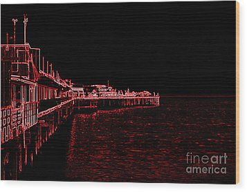 Red Neon Wharf Wood Print by Garnett  Jaeger