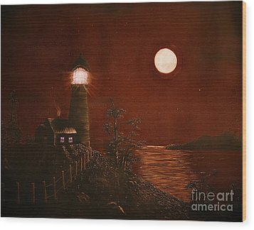 Red Night Wood Print by Barbara Griffin