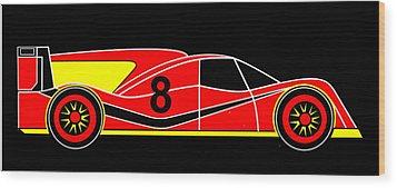 Red Number 8 Racing Car Virtual Car Wood Print by Asbjorn Lonvig