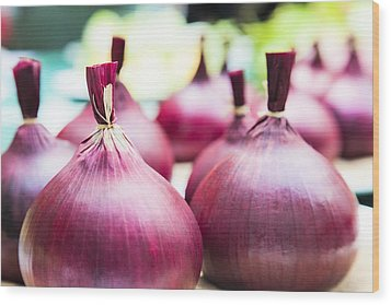 Red Onions Wood Print by Maj Seda