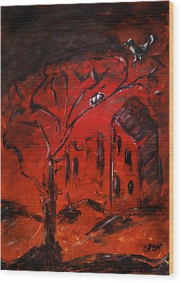 Wood Print featuring the painting Red Orange Yellow Sunset With Bird Nest Castle And Tree Silhouette by M Zimmerman