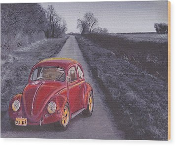 Red Oxo Wood Print by Sharon Poulton