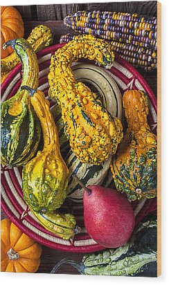 Red Pear And Gourds Wood Print by Garry Gay