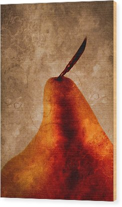 Red Pear I Wood Print by Carol Leigh