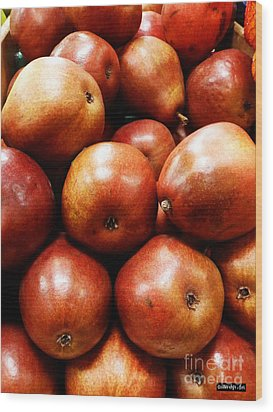 Red Pears Wood Print by Methune Hively