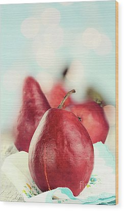 Red Pears Wood Print by Stephanie Frey