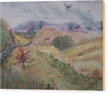 Red Pin Oak Wood Print by Barbara McGeachen
