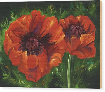 Red Poppies Wood Print by Aaron Rutten