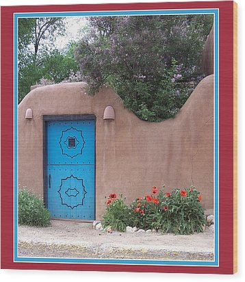 Red Poppies Blue Door Wood Print