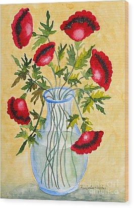 Red Poppies In A Vase Wood Print by Kimberlee Weisker