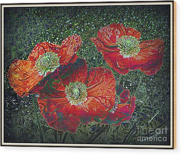 Wood Print featuring the mixed media Red Poppies by Irina Hays