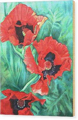 Red Poppies Wood Print by Leslie Redhead