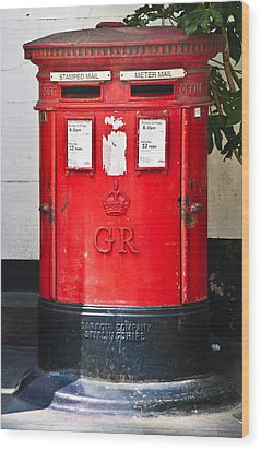 Red Post Box Wood Print by Dawn OConnor