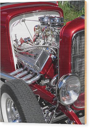 Red Roadster Hot Rod Fine Art Photo Wood Print by Sven Migot