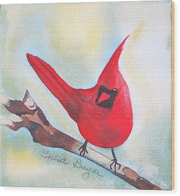 Wood Print featuring the painting Red Robin by Teresa Beyer