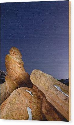 Red Rock Stars Wood Print by Adam Pender