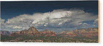Red Rock Storm Wood Print by Scott Faunce