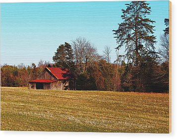 Red Roof Tobacco Barn Wood Print