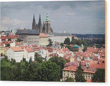 Red Rooftops Of Prague Wood Print by Linda Woods