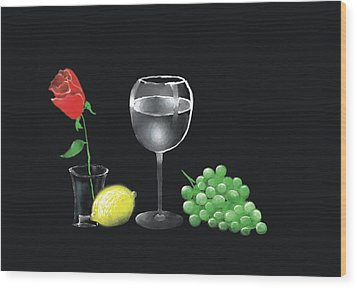 Wood Print featuring the painting Red Rose And Grapes by Larry Cirigliano