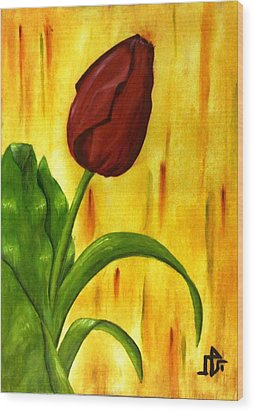 Red Rose Wood Print by Baraa Absi