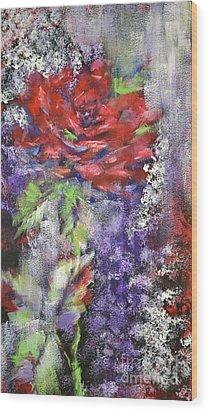 Wood Print featuring the painting Red Rose In Winter by Kathleen Pio