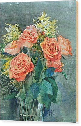 Red Roses Wood Print by Peter Sit