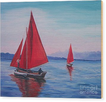 Wood Print featuring the painting Red Sails On Irish Coast by Julie Brugh Riffey