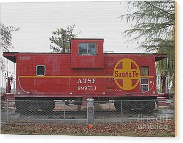 Red Sante Fe Caboose Train . 7d10328 Wood Print by Wingsdomain Art and Photography