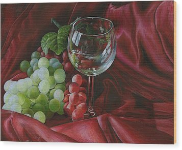 Red Satin And Grapes Wood Print