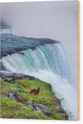 Red Shoes Left By The Falls Wood Print by Jill Battaglia