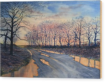 Red Sky On The Road From Sledmere Wood Print