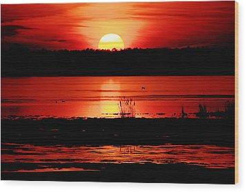 Red Sky Reflected Wood Print by DK Hawk