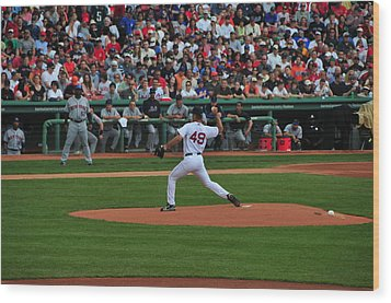 Red Sox Retiree Tim Wakefield Wood Print by Mike Martin
