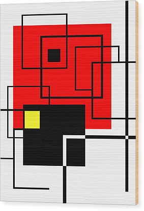 Red Square A La Mondrian Wood Print by Ginny Schmidt