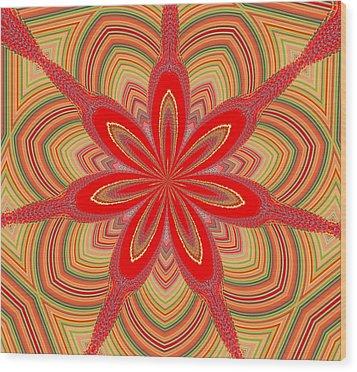 Red Star Brocade Wood Print by Alec Drake