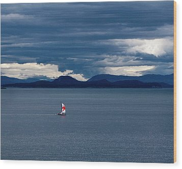 Wood Print featuring the photograph Red Star Sail by Lorraine Devon Wilke