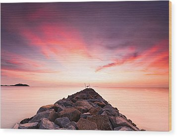 Red Sunrise Wood Print by Yusri Salleh
