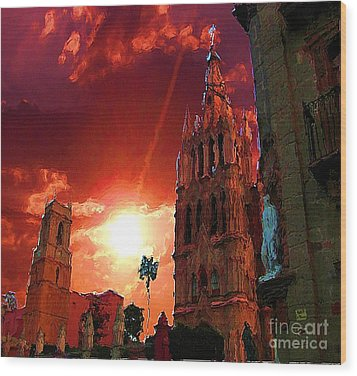 Wood Print featuring the photograph Red Sunset Over The Paroquio by John  Kolenberg