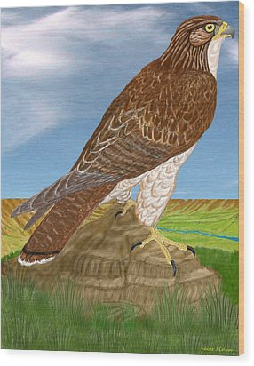 Wood Print featuring the digital art Red Tail Hawk by Walter Colvin