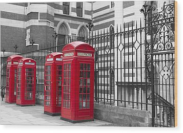 Red Telephone Boxes Wood Print by David French