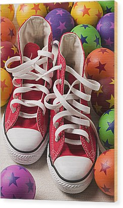 Red Tennis Shoes And Balls Wood Print by Garry Gay