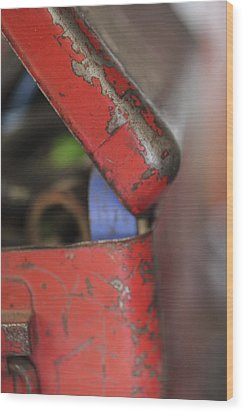 Wood Print featuring the photograph Red Toolbox. by Carole Hinding